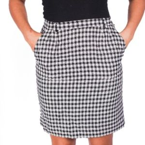 1970s Black White Houndstooth Wool Pencil Skirt